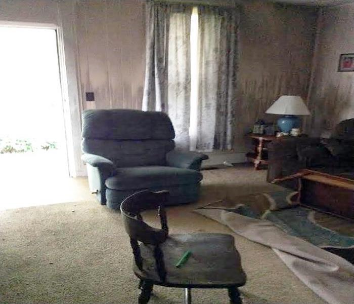 West Lafayette Living Room Smoke And Fire Damage Before