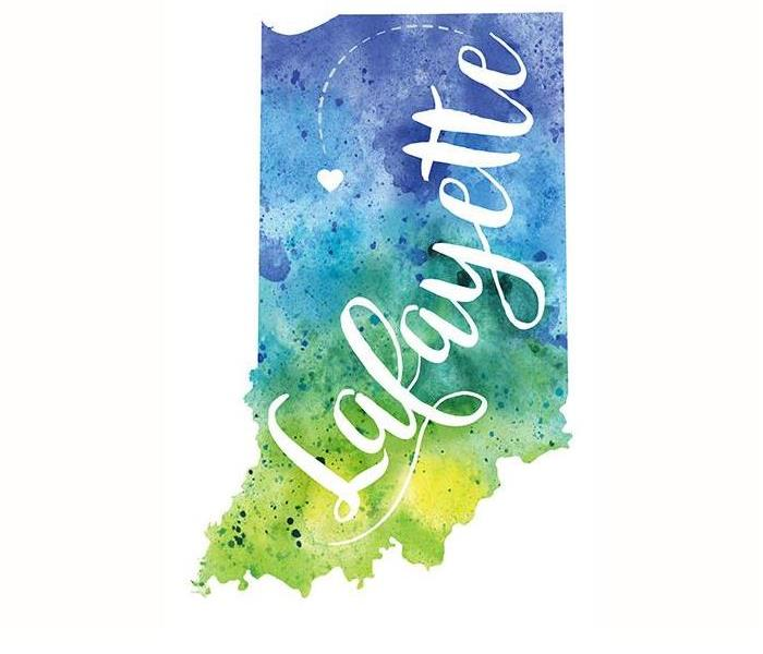 Blue and Green watercolor in the shape of the state of Indiana, with the word Lafayette in the center.