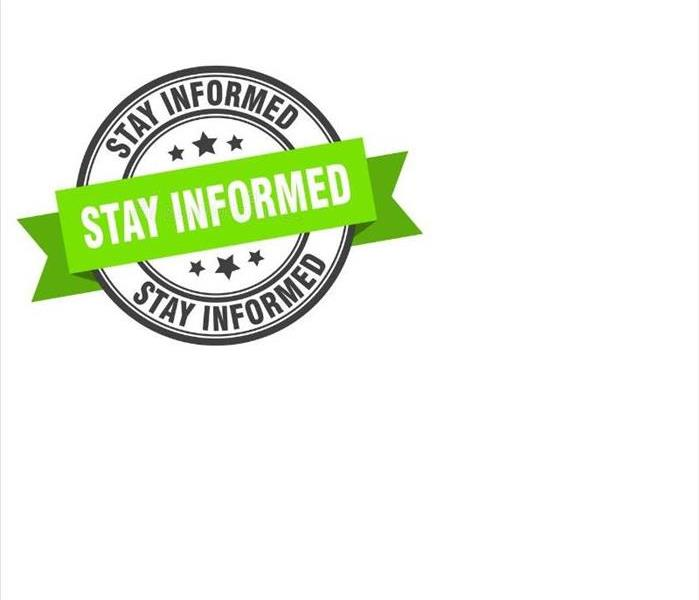 "The words ""stay informed"" in a circle, with banner across that says ""stay informed""."