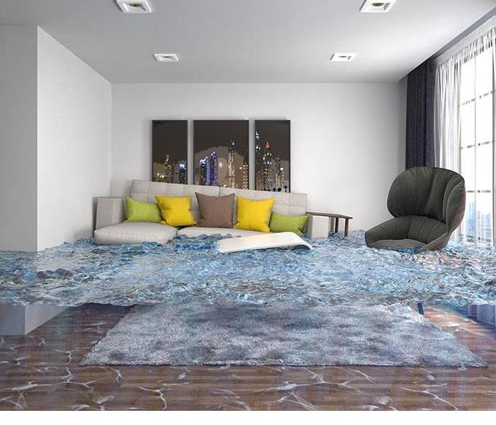 living room with couch and chair floating in a pool of water
