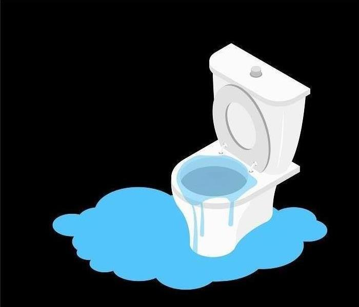 A black background with a cartoon toilet overflowing.