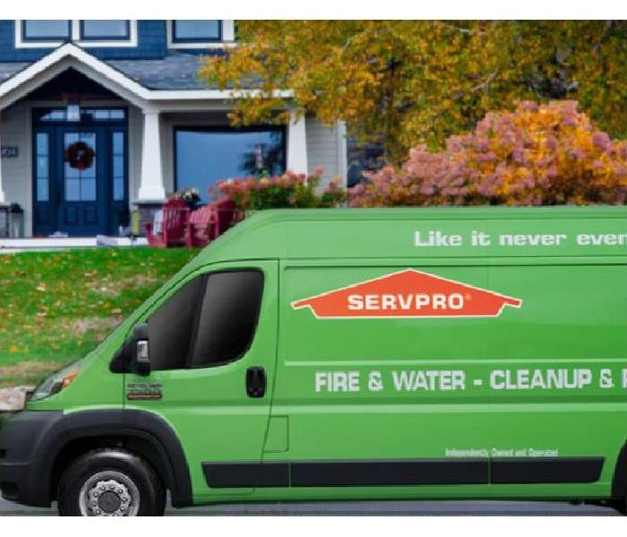 SERVPRO restoration vehicle in front of home